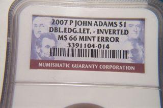 Rare 2007 John Adams Error Inverted Variety Ngc Cert.  Ms - 66 Higest Graded photo