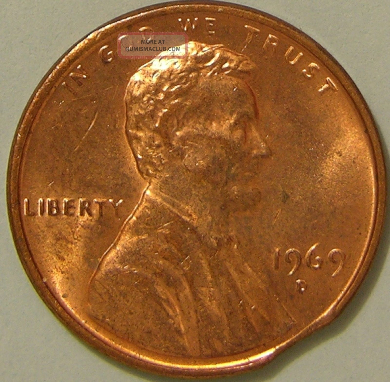 1969 D Lincoln Memorial Penny Clipped Planchet Error Coin Af 59