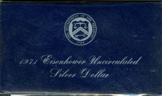 1971 Us Uncirculated Silver Eisenhower Dollar In Blue Envelope photo