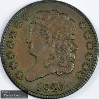 1826 Classic Head Half Cent Borderline Uncirculated Brown Early America Copper photo