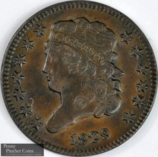 1829 Classic Head Half Cent Almost Uncirculated Brown Early America Copper photo