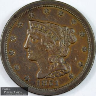 1851 Braided Hair Half - Cent Almost Uncirculated Chocolate Brown Type Copper photo