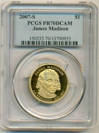 2007 S James Madison Presidential Dollar Pr70 Dcam Pcgs Blue Label photo