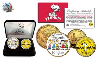 Peanuts Charlie Brown&gangs - 60 Year Celebrate 2 Coin 24k Gold Us Alegal Tender photo