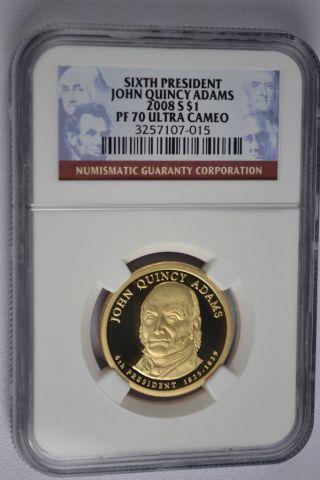 2008 - S John Quincy Adams Presidential Golden Dollar Ngc Pf70 Ultra Cameo photo