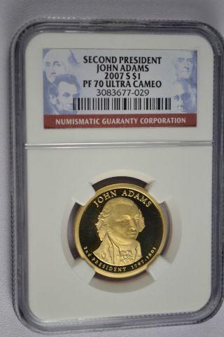 2007 - S John Adams Presidential Golden Dollar Ngc Pf70 Ultra Cameo photo