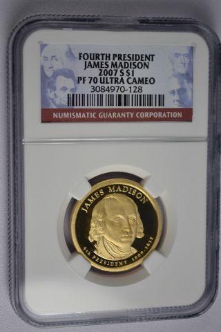 2007 - S James Madison Presidential Golden Dollar Ngc Pf70 Ultra Cameo photo