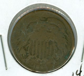 1864 Two Cent Piece Very Good. photo