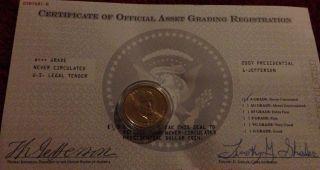 Uncirculated 2007 Jefferson Presidential One Dollar Coin - A+++ Grade photo