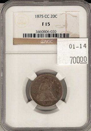 1875 Cc Seated Liberty Twenty Cent Piece 20c F 15 Ngc Certified photo