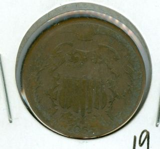 1865 Two Cent Piece Very Good. photo