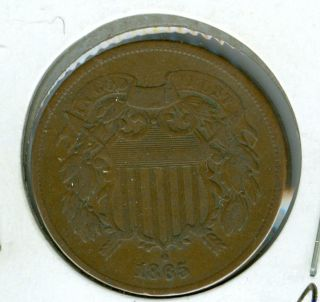 1865 Two Cent Piece Very Fine Plus. photo