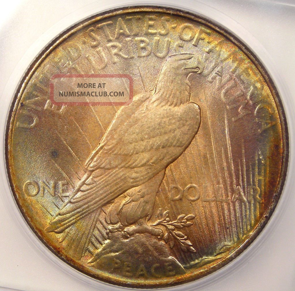 1924 Peace Silver Dollar Icg Ms64 Rainbow Coin