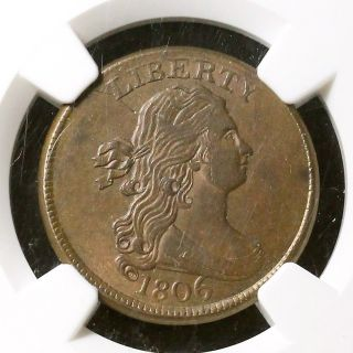 1806 C - 4 Ngc Au58 Draped Bust Half Cent Coin 1/2c photo