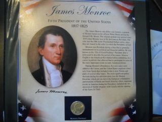 Coinhunters - 2008 Postal Commemorative Society James Monroe Dollar And Stamps photo