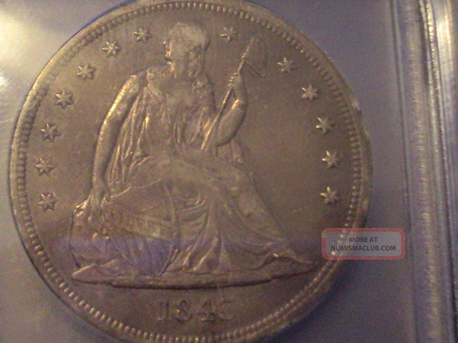 Coinhunters - 1843 Seated Liberty Dollar - Icg Ef 45 - Borderline Au Dollars photo
