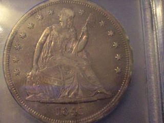 Coinhunters - 1843 Seated Liberty Dollar - Icg Ef 45 - Borderline Au photo