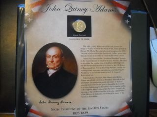Coinhunters - 2008 Postal Commemorative Society John Q.  Adams Dollar And Stamps photo