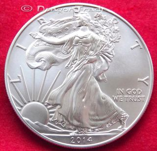 2014 Silver Eagle 1 Troy Oz (31.  105g).  999 Silver $1= B/u In Flip Wallet photo