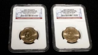 16c 2007 D & P Washington Presidential Dollar Ngc Brilliant Unc 1st Day Of Issue photo