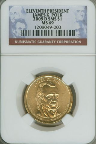2007 D Sms President Polk Satin Ngc Ms 69 \\\\\free.  Shipping///// photo