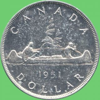 1951 Canada Silver Dollar Coin (23.  33 Grams, .  800 Silver) (no Tax) photo