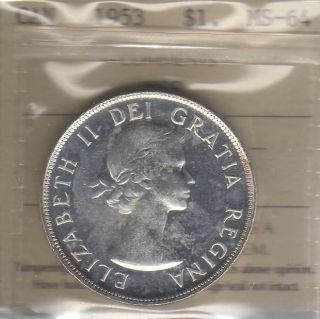 1953 Canada Silver Dollar.  Iccs Ms - 64 Nsf photo