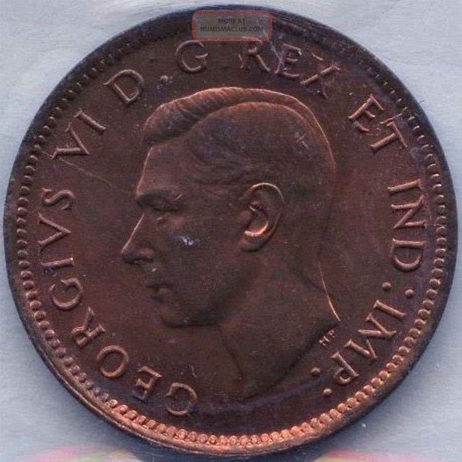 1946 Canada 1 Cent Coin Graded Iccs Ms65 Xrt 806 No Tax