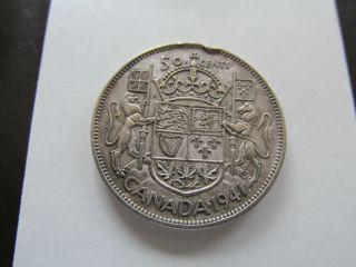 1941 50 Cents Canada Silver photo