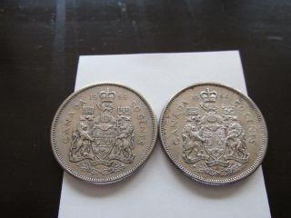 2x 1964 50 Cents Canada Silver photo