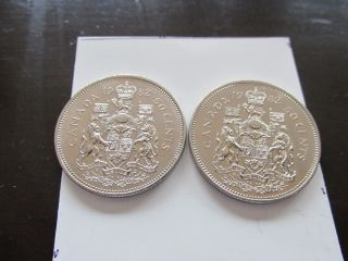 2x 1982 50 Cents Canada photo