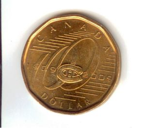 2009 Canadian Loonie With Montreal Canadians Logo photo
