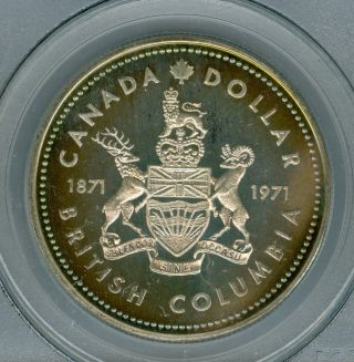 1971 Canada $1 Dollar Pcgs Sp67 Gorgeous Neon Rainbow Toned photo