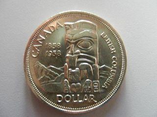 Canada 1958 Silver Dollar Totem Pole (death Dollar) Au/bu photo