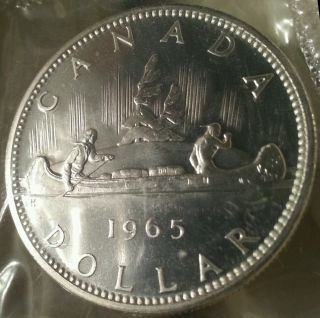 Prooflike Silver Canada Dollar 1965 - - In Cello photo