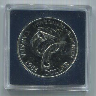 1983 S$1 W.  U.  Games Dc (proof) Canada Silver Dollar Km 138 Box photo