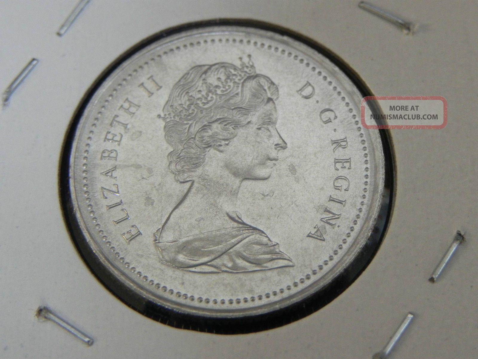1973 Ms Unc Canadian Canada Rcmp Mountie Quarter Twenty Five 25 Cent Small Bust
