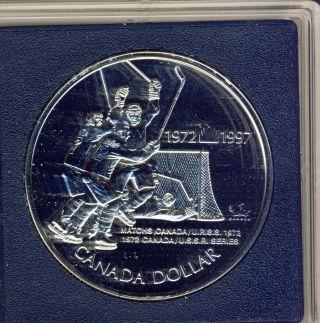 1997 Royal Canadian B Unc Silver Dollar 1972 Canada/ussr Hockey Tournament photo
