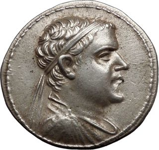 Eucratidies I,  Bactrian Kingdom,  170 - 145 Bc.  Silver Tetradrachm.  Dioscuri. photo