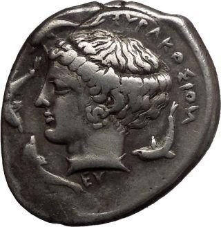 Sicily: Syracuse,  415 - 406 B.  C.  2nd Republic.  Arethusa.  Signed On Both Sides. photo