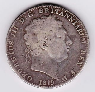Gb 1819 George Iii Lix Silver Crown Af photo