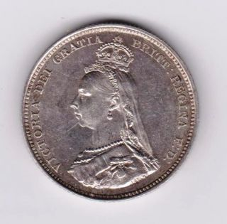 Gb Qv Shilling 1887 A Unc photo