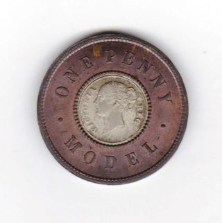 Gb Model Penny 1844 Bimetallic J Moore Birmingham photo