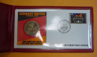 1990 Germany United: Official Coin First Day Cover J143 photo