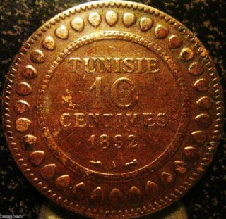 Tunisia 1892 - A 10 Centimes - Scarce 2 photo