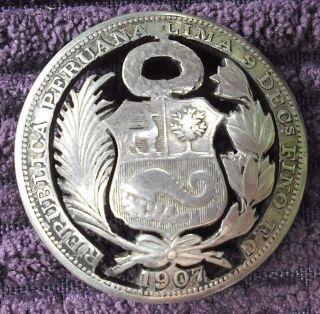 Peru 1/2 Sol,  1907 Coin Silver Brooch photo