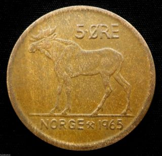 Norway,  1965 5 Ore Olav V Moose Coin photo