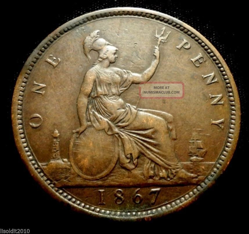 Old United Kingdom Gb 1867 1 Penny Queen Victoria