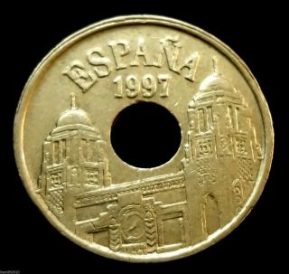 Spain,  1997 25 Pesetas (melilla) Ancient Amphora Towered Buildings Coin photo