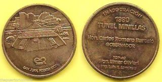 Medalla Inauguracion Tunel Minillas 1980 San Juan Puerto Rico Romero Barcelo photo